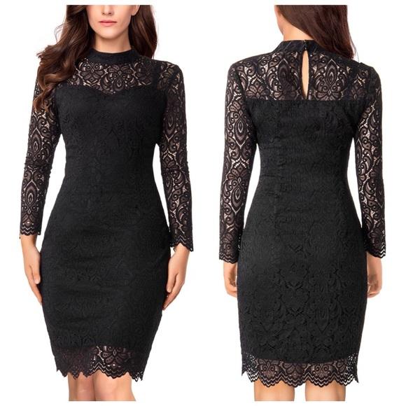777cf32fc337 Noctflos Dresses | Black Lace Long Sleeve Cocktail Dress | Poshmark